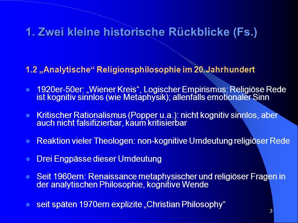 """3 1. Zwei kleine historische Rückblicke (Fs.) 1.2 """"Analytische"""" Religionsphilosophie im 20.Jahrhundert 1920er-50er: """"Wiener Kreis"""", Logischer Empirism"""