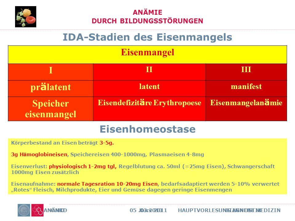 ONKO Kurs 2011 DIAGNOSTIK ANÄMIE DURCH BILDUNGSSTÖRUNGEN ANÄMIE 05.03.2010 HAUPTVORLESUNG INNERE MEDIZIN IDA-Stadien des Eisenmangels Eisenmangel I II