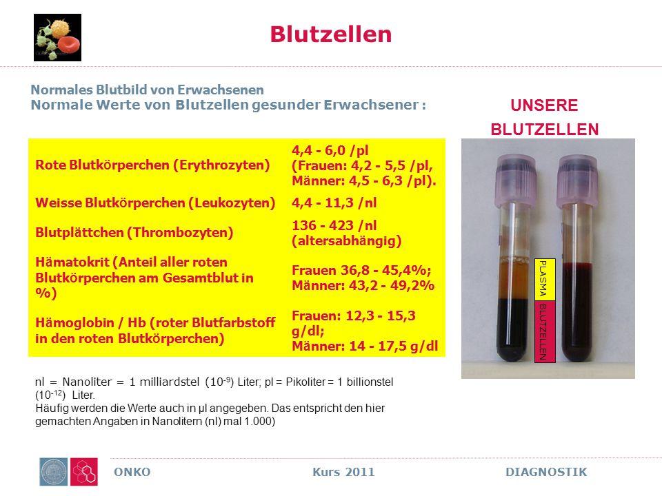 ONKO Kurs 2011 DIAGNOSTIK Blutzellen UNSERE BLUTZELLEN Normales Blutbild von Erwachsenen Normale Werte von Blutzellen gesunder Erwachsener : Rote Blut