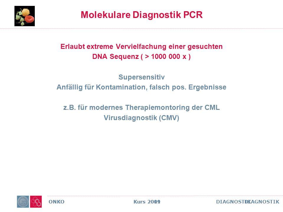 ONKO Kurs 2011 DIAGNOSTIK Molekulare Diagnostik PCR Erlaubt extreme Vervielfachung einer gesuchten DNA Sequenz ( > 1000 000 x ) Supersensitiv Anfällig