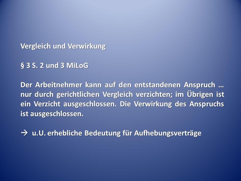 Vergleich und Verwirkung § 3 S.