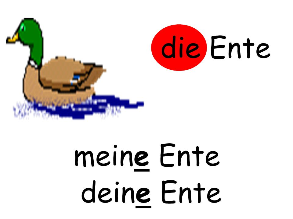 die Ente m……… Ente meine Ente d……… Ente deine Ente