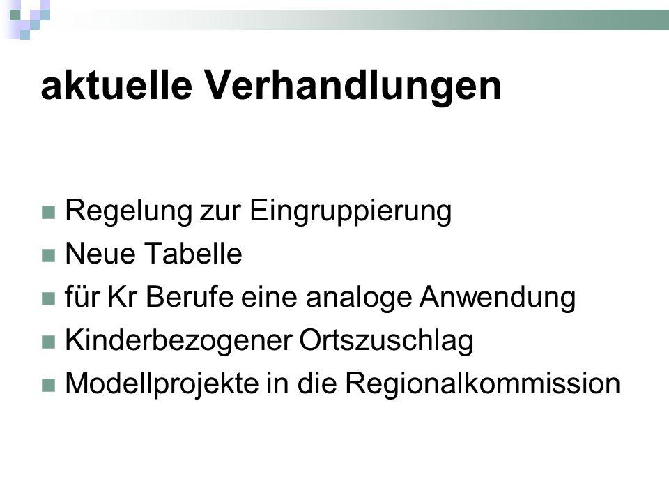 aktuelle Verhandlungen Regelung zur Eingruppierung Neue Tabelle für Kr Berufe eine analoge Anwendung Kinderbezogener Ortszuschlag Modellprojekte in die Regionalkommission