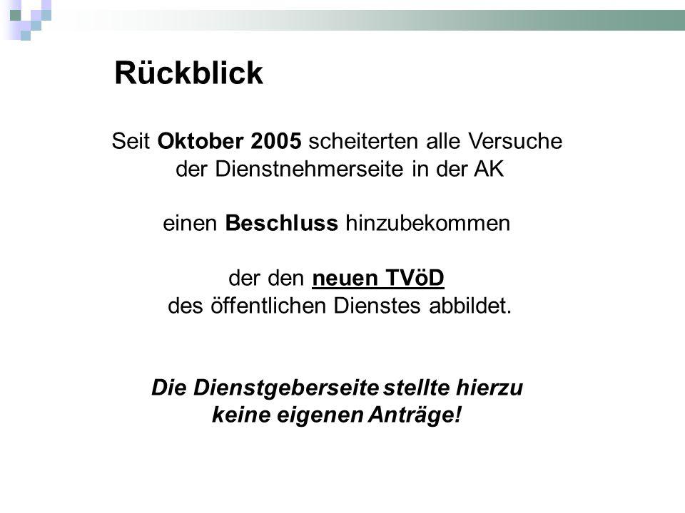 Seit Oktober 2005 scheiterten alle Versuche der Dienstnehmerseite in der AK einen Beschluss hinzubekommen der den neuen TVöD des öffentlichen Dienstes abbildet.