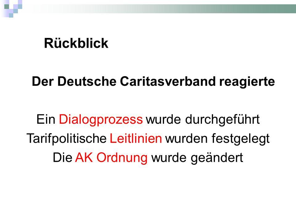 Der Deutsche Caritasverband reagierte Ein Dialogprozess wurde durchgeführt Tarifpolitische Leitlinien wurden festgelegt Die AK Ordnung wurde geändert