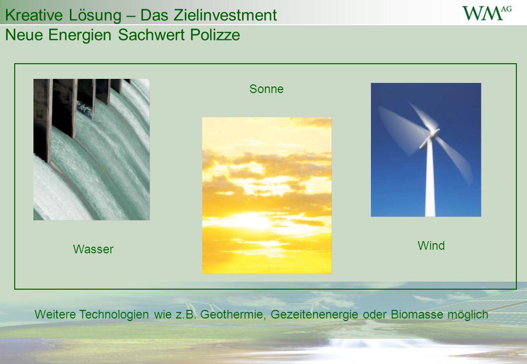 Kreative Lösung – Das Zielinvestment Neue Energien Sachwert Polizze Wasser Sonne Wind Weitere Technologien wie z.B. Geothermie, Gezeitenenergie oder B