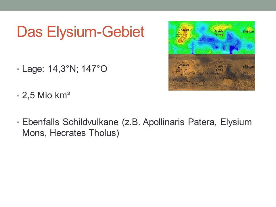 Das Elysium-Gebiet Lage: 14,3°N; 147°O 2,5 Mio km² Ebenfalls Schildvulkane (z.B. Apollinaris Patera, Elysium Mons, Hecrates Tholus)