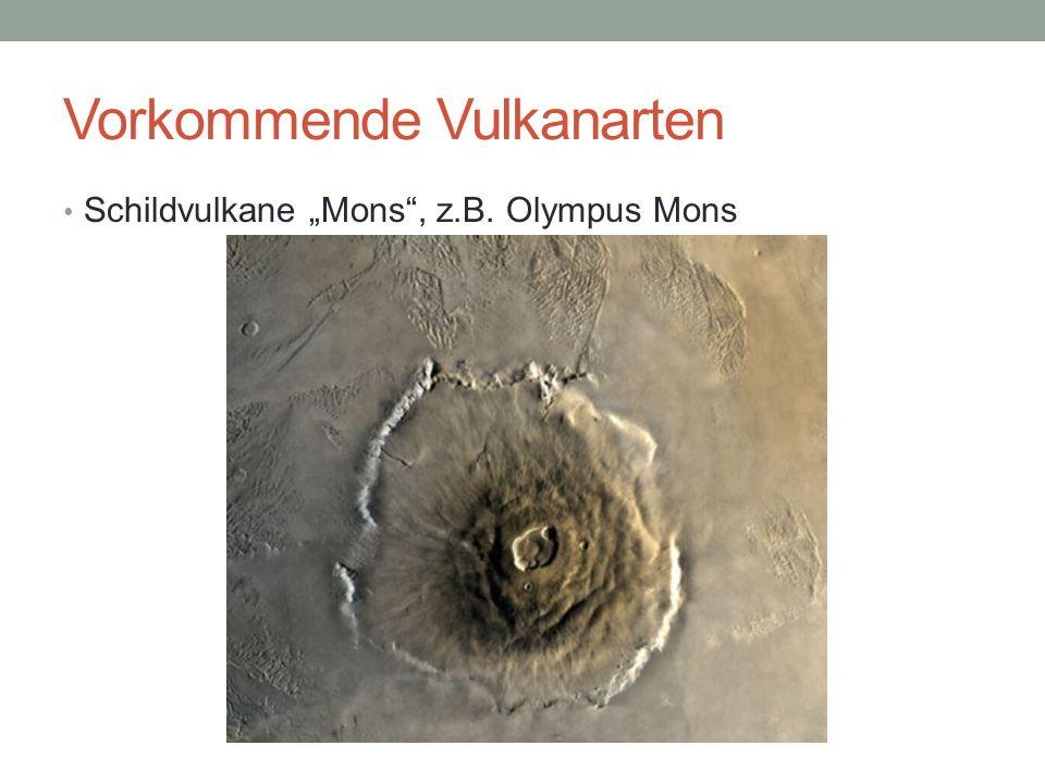 """Vorkommende Vulkanarten Schildvulkane """"Mons"""", z.B. Olympus Mons"""