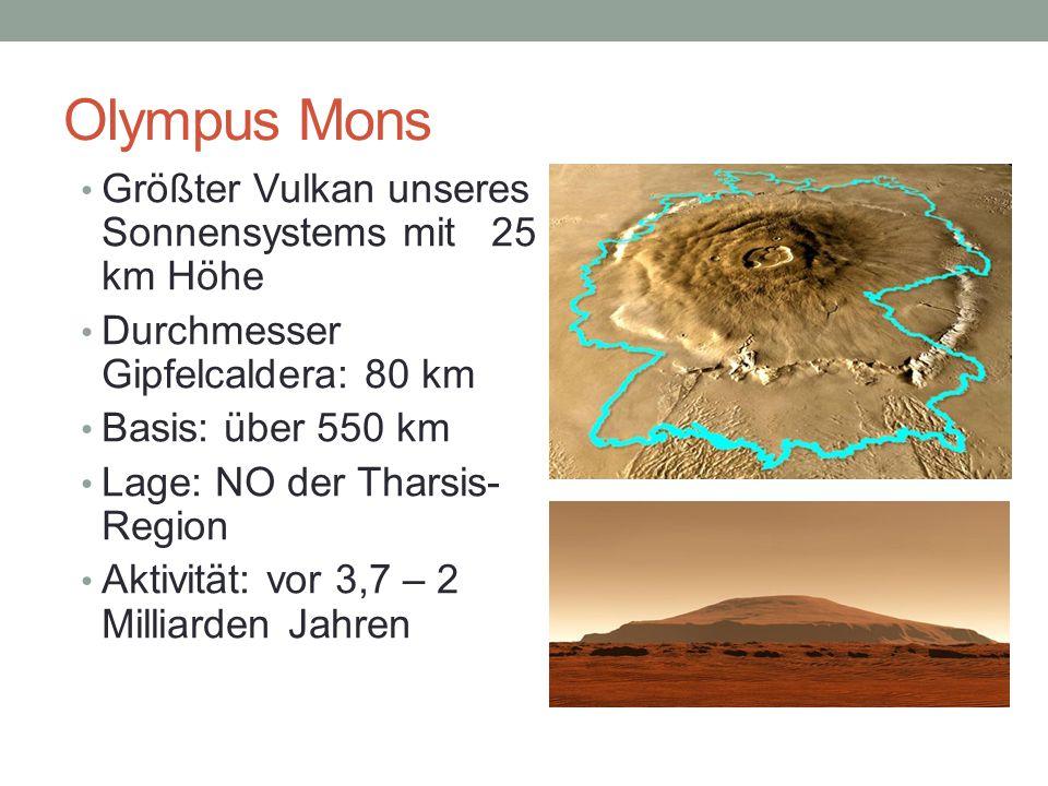 Olympus Mons Größter Vulkan unseres Sonnensystems mit 25 km Höhe Durchmesser Gipfelcaldera: 80 km Basis: über 550 km Lage: NO der Tharsis- Region Akti