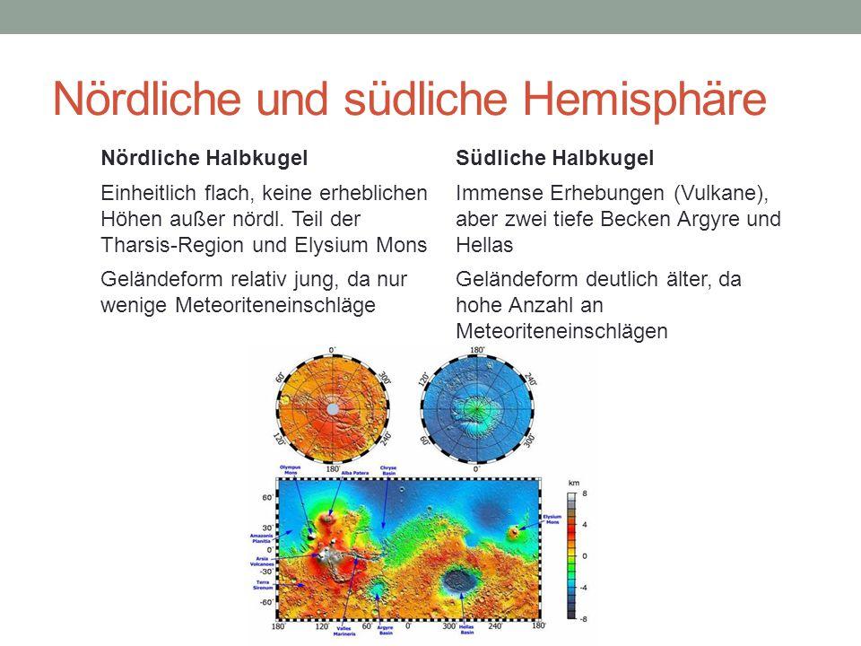 Nördliche und südliche Hemisphäre Nördliche HalbkugelSüdliche Halbkugel Einheitlich flach, keine erheblichen Höhen außer nördl.