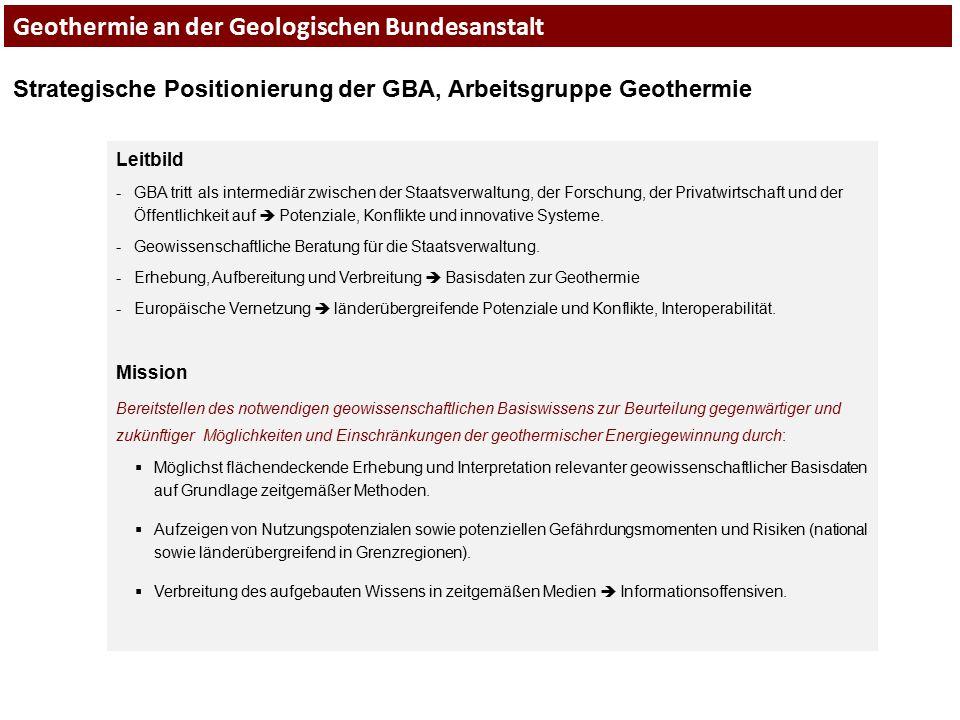 Geothermie an der Geologischen Bundesanstalt Strategische Positionierung der GBA, Arbeitsgruppe Geothermie Leitbild -GBA tritt als intermediär zwische