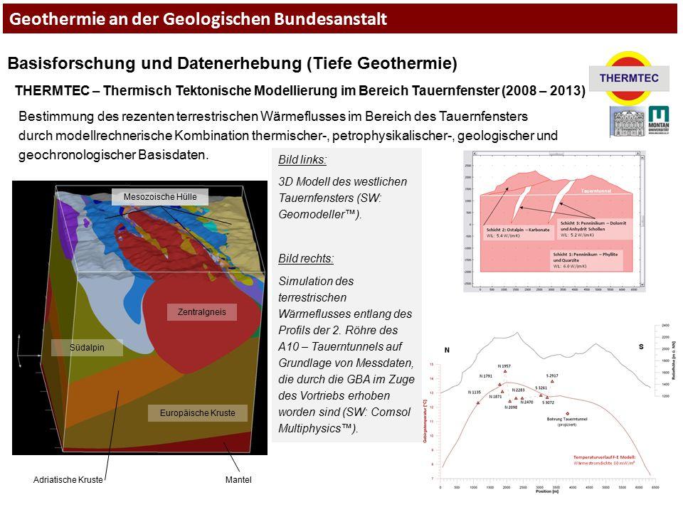 Geothermie an der Geologischen Bundesanstalt Basisforschung und Datenerhebung (Tiefe Geothermie) THERMTEC – Thermisch Tektonische Modellierung im Bere