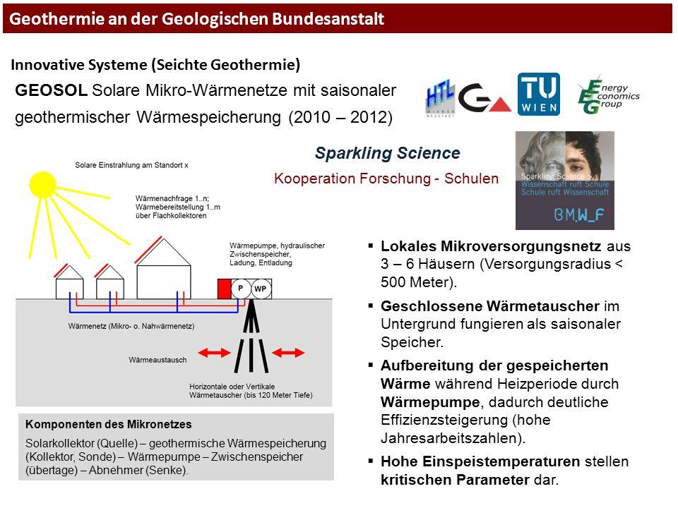 Innovative Systeme (Seichte Geothermie) GEOSOL Solare Mikro-Wärmenetze mit saisonaler geothermischer Wärmespeicherung (2010 – 2012) Komponenten des Mi