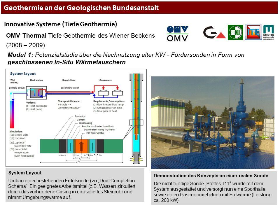Innovative Systeme (Tiefe Geothermie) OMV Thermal Tiefe Geothermie des Wiener Beckens (2008 – 2009) Modul 1: Potenzialstudie über die Nachnutzung alte