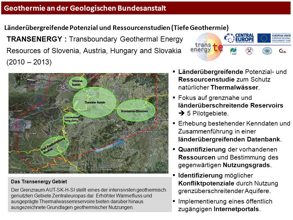 Länderübergreifende Potenzial und Ressourcenstudien (Tiefe Geothermie) TRANSENERGY : Transboundary Geothermal Energy Resources of Slovenia, Austria, H