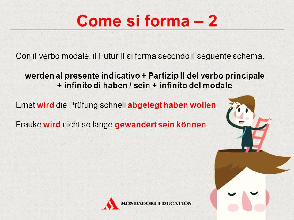 Come si forma – 2 Con il verbo modale, il Futur II si forma secondo il seguente schema. werden al presente indicativo + Partizip II del verbo principa