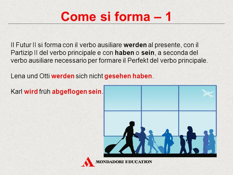 Come si forma – 1 Il Futur II si forma con il verbo ausiliare werden al presente, con il Partizip II del verbo principale e con haben o sein, a second