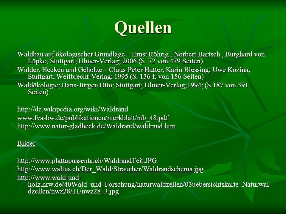 Quellen Waldbau auf ökologischer Grundlage – Ernst Röhrig, Norbert Bartsch, Burghard von Lüpke; Stuttgart; Ulmer-Verlag; 2006 (S. 72 von 479 Seiten) W