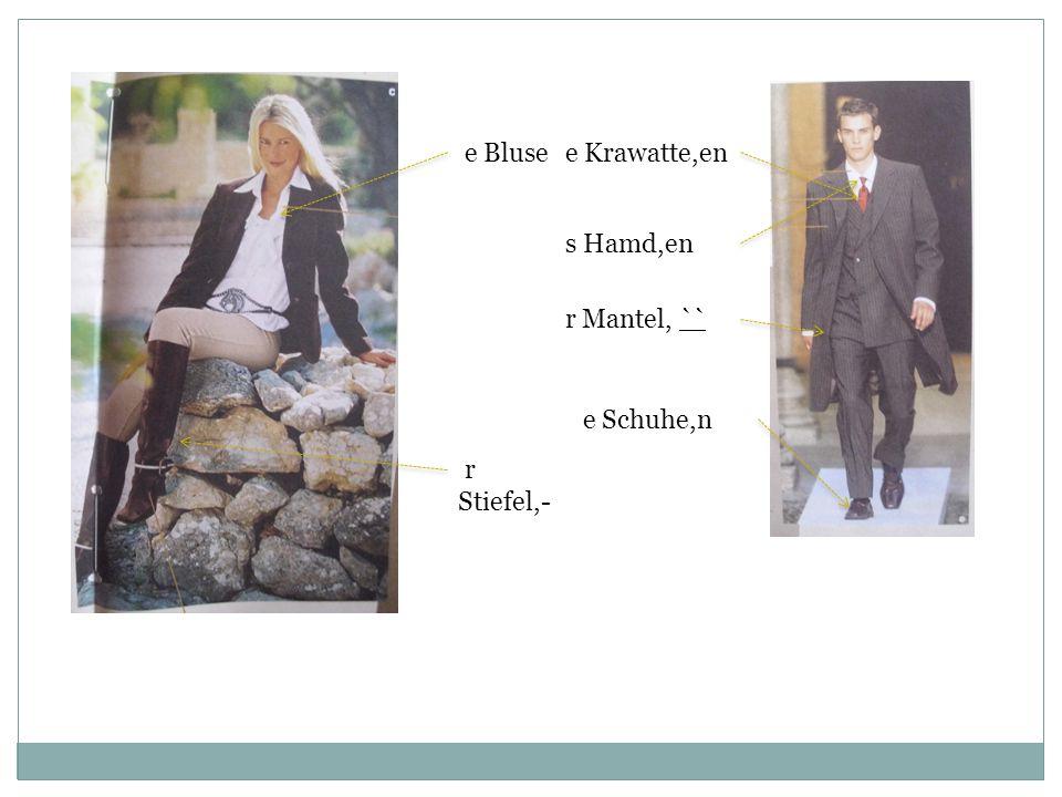 e Bluse r Stiefel,- e Krawatte,en r Mantel, `` s Hamd,en e Schuhe,n