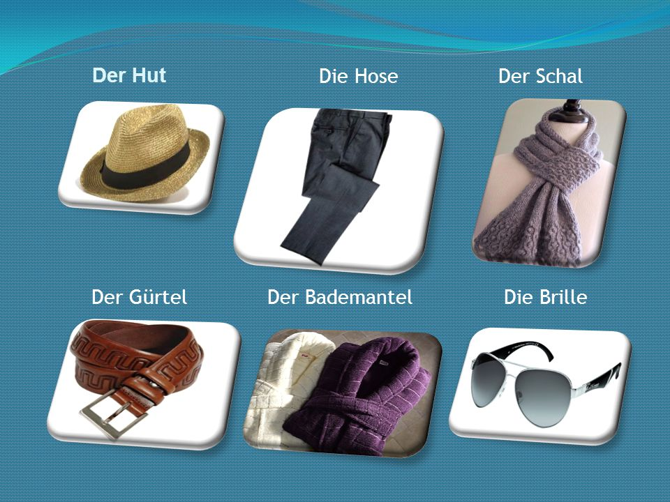 Der Hut Der SchalDie Hose Der GürtelDer BademantelDie Brille