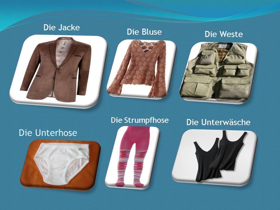 Die Unterhose Die Strumpfhose Die Unterwäsche Die Jacke Die Bluse Die Weste