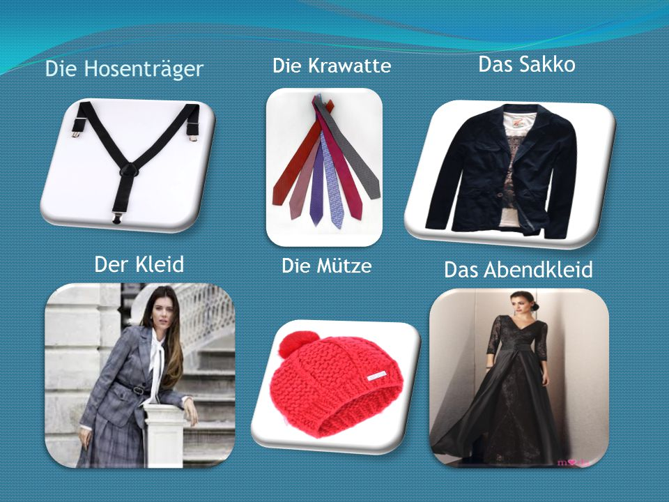 Die Hosenträger Das Sakko Der Kleid Das Abendkleid Die Mütze Die Krawatte