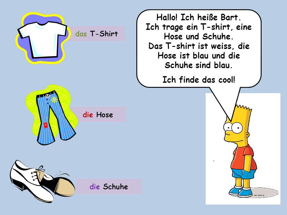 Hallo! Ich heiße Bart. Ich trage ein T-shirt, eine Hose und Schuhe. Das T-shirt ist weiss, die Hose ist blau und die Schuhe sind blau. Ich finde das c