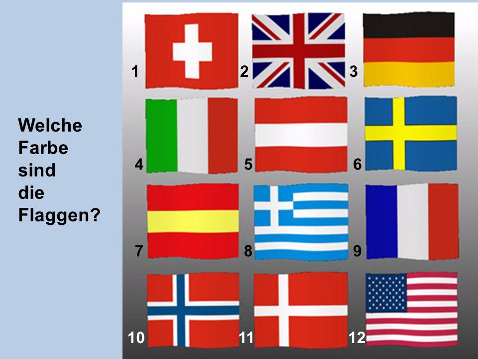 123 456 789 101112 Welche Farbe sind die Flaggen?