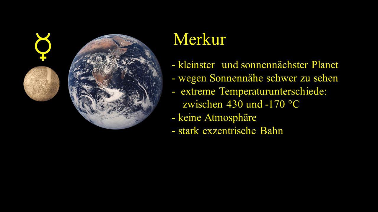 Merkur - kleinster und sonnennächster Planet - wegen Sonnennähe schwer zu sehen - extreme Temperaturunterschiede: zwischen 430 und -170 °C - keine Atmosphäre - stark exzentrische Bahn