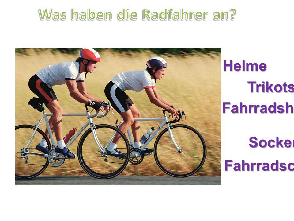 Helme Trikots Fahrradshorts Socken Fahrradschuhe