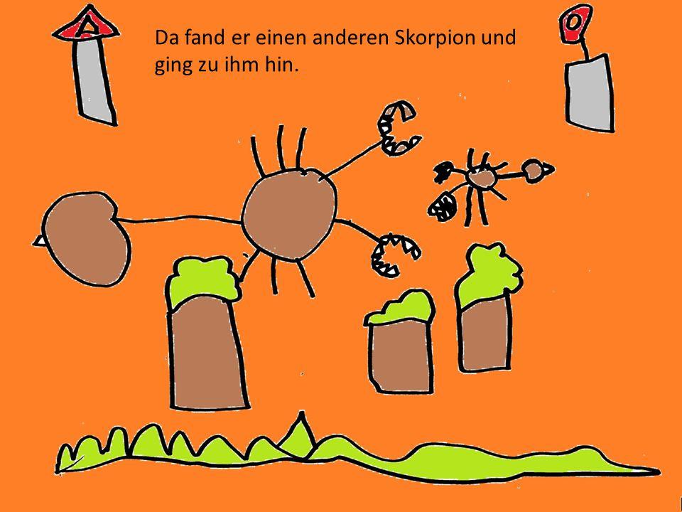 Da kam ein Gepard. Die zwei Skorpione versteckten sich in einem Baum.