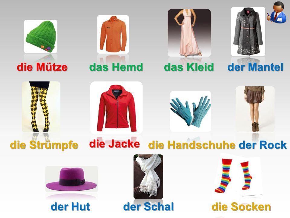 die Mütze das Hemd das Kleid der Mantel die Strümpfe die Jacke die Handschuhe der Rock der Hut der Schal die Socken