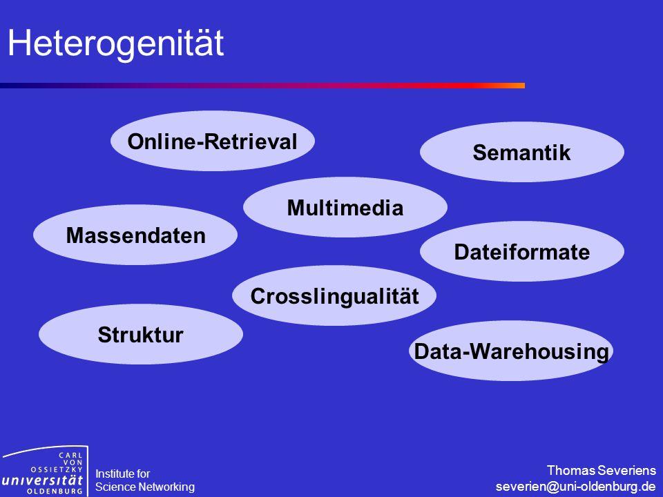 Institute for Science Networking Thomas Severiens severien@uni-oldenburg.de Heterogenität Massendaten Multimedia Crosslingualität Online-Retrieval Sem