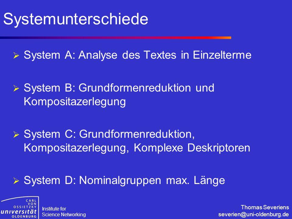 Institute for Science Networking Thomas Severiens severien@uni-oldenburg.de Systemunterschiede  System A: Analyse des Textes in Einzelterme  System