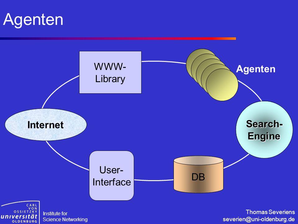 Institute for Science Networking Thomas Severiens severien@uni-oldenburg.de Agenten Internet User- Interface DB WWW- Library Search-Engine Agenten