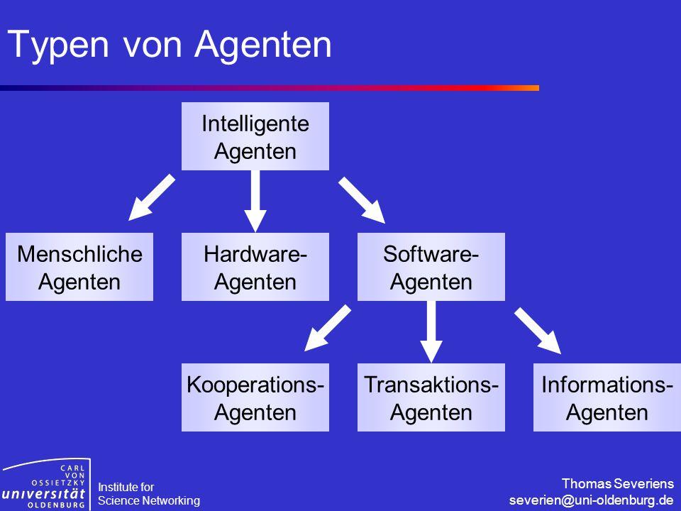 Institute for Science Networking Thomas Severiens severien@uni-oldenburg.de Typen von Agenten Intelligente Agenten Software- Agenten Hardware- Agenten