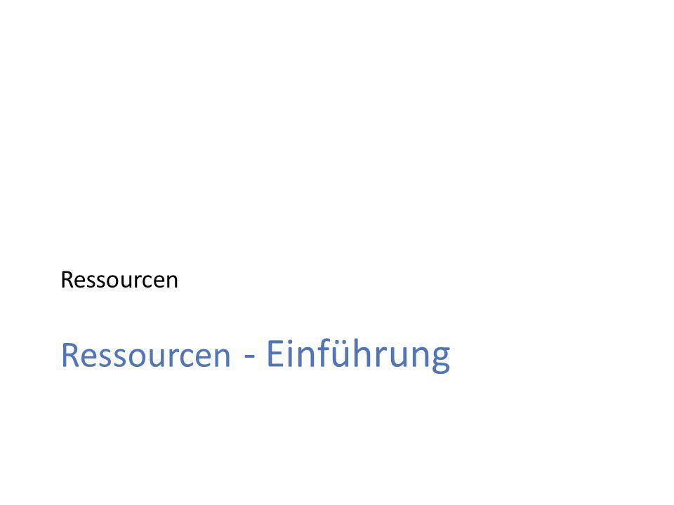 Ressourcen Ressourcen - Einführung