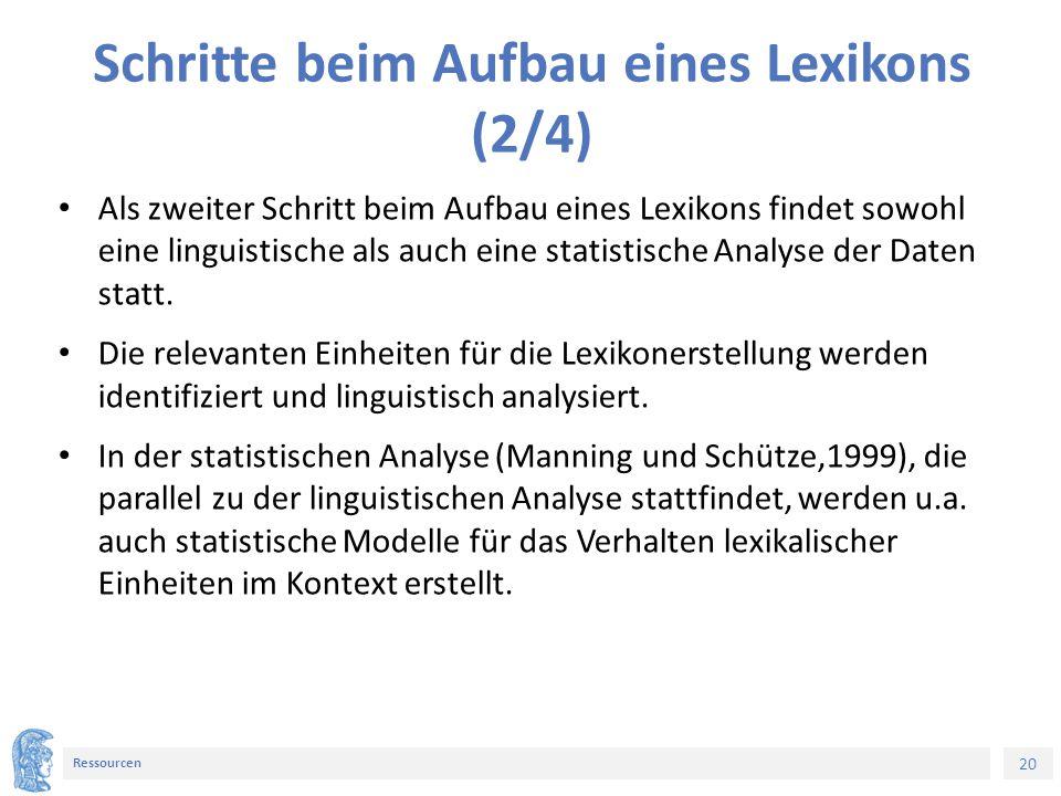 20 Ressourcen Schritte beim Aufbau eines Lexikons (2/4) Als zweiter Schritt beim Aufbau eines Lexikons findet sowohl eine linguistische als auch eine statistische Analyse der Daten statt.