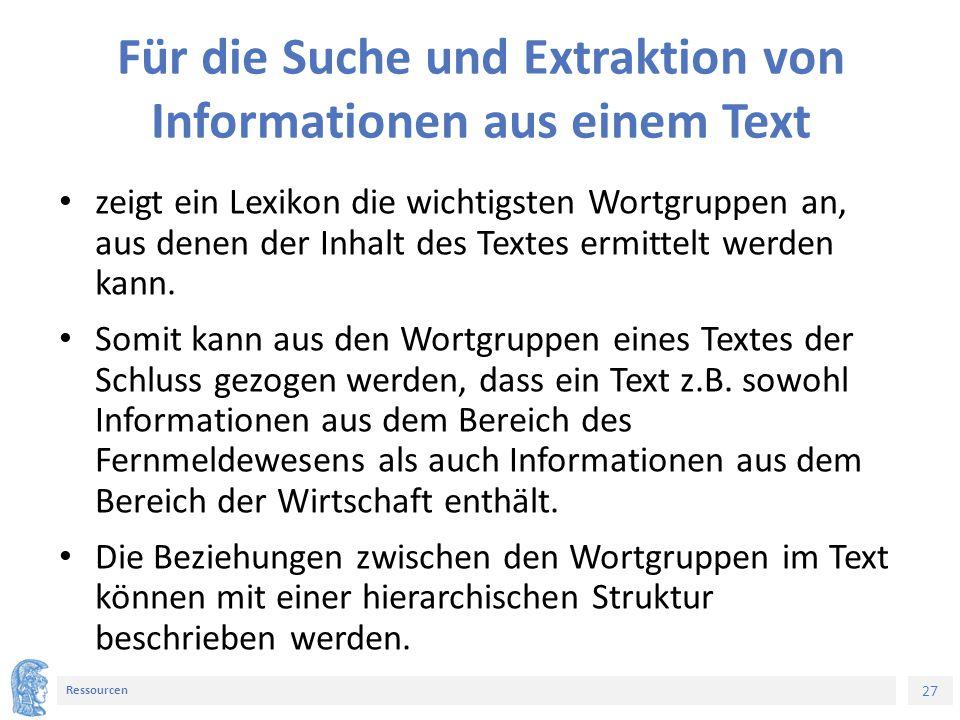 27 Ressourcen Für die Suche und Extraktion von Informationen aus einem Text zeigt ein Lexikon die wichtigsten Wortgruppen an, aus denen der Inhalt des Textes ermittelt werden kann.