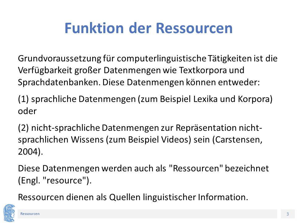 3 Ressourcen Funktion der Ressourcen Grundvoraussetzung für computerlinguistische Tätigkeiten ist die Verfügbarkeit großer Datenmengen wie Textkorpora und Sprachdatenbanken.