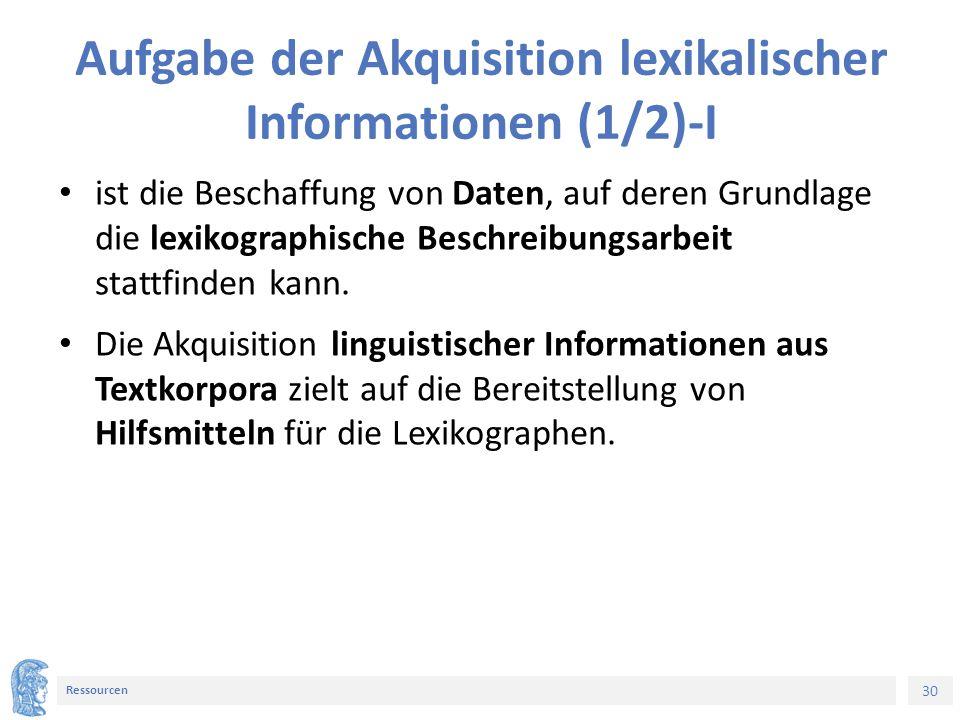 30 Ressourcen Aufgabe der Akquisition lexikalischer Informationen (1/2)-I ist die Beschaffung von Daten, auf deren Grundlage die lexikographische Besc