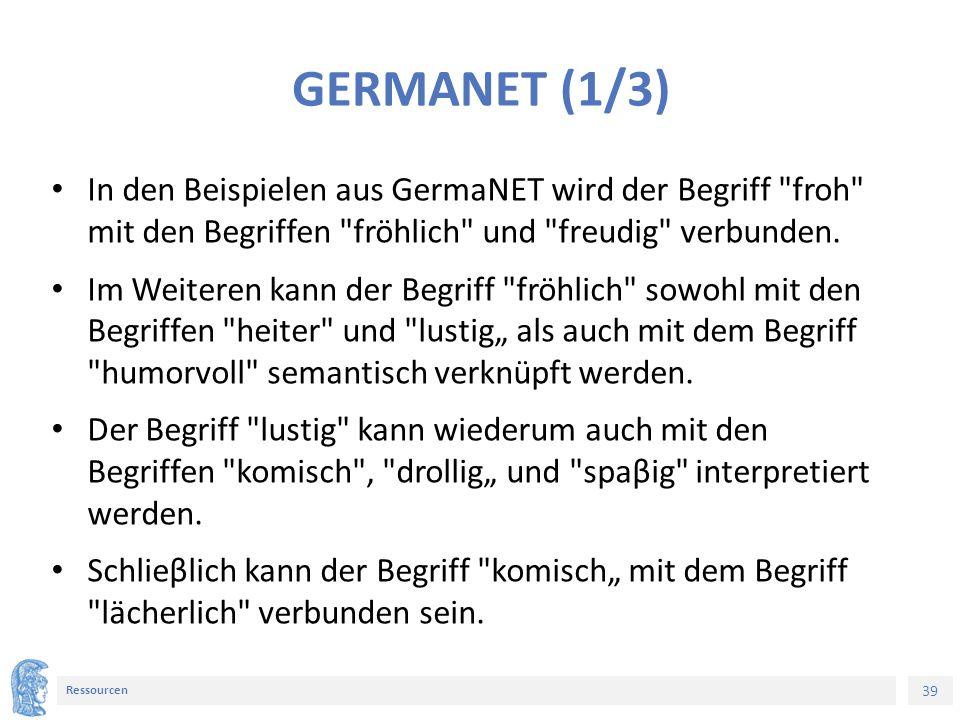 39 Ressourcen GERMANET (1/3) In den Beispielen aus GermaNET wird der Begriff froh mit den Begriffen fröhlich und freudig verbunden.