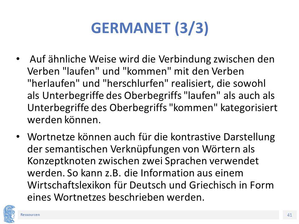 41 Ressourcen GERMANET (3/3) Auf ähnliche Weise wird die Verbindung zwischen den Verben