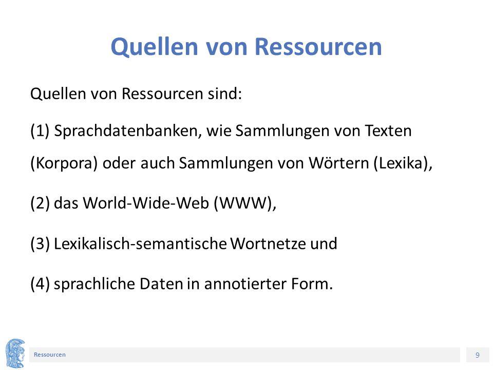 9 Ressourcen Quellen von Ressourcen Quellen von Ressourcen sind: (1) Sprachdatenbanken, wie Sammlungen von Texten (Korpora) oder auch Sammlungen von Wörtern (Lexika), (2) das World-Wide-Web (WWW), (3) Lexikalisch-semantische Wortnetze und (4) sprachliche Daten in annotierter Form.
