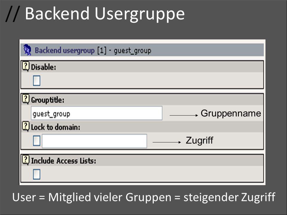 // Backend Usergruppe Usergruppe Zugriffsrechte Adminrechte Gruppenname Zugriff User = Mitglied vieler Gruppen = steigender Zugriff