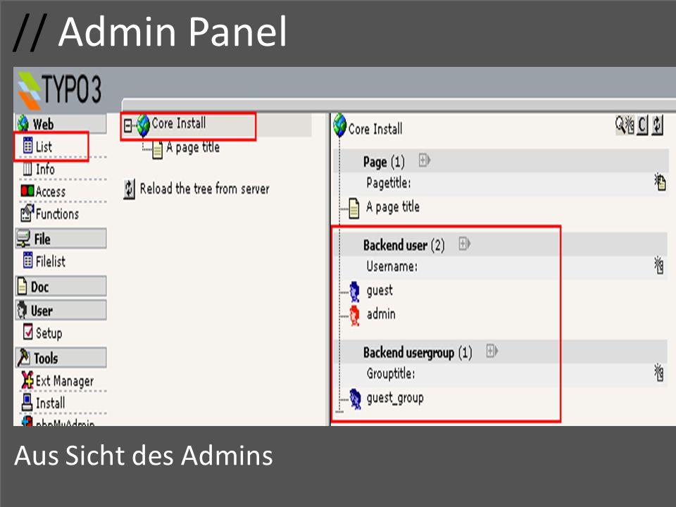 // Admin Panel Usergruppe Zugriffsrechte Adminrechte Gruppenname Zugriff Aus Sicht des Admins