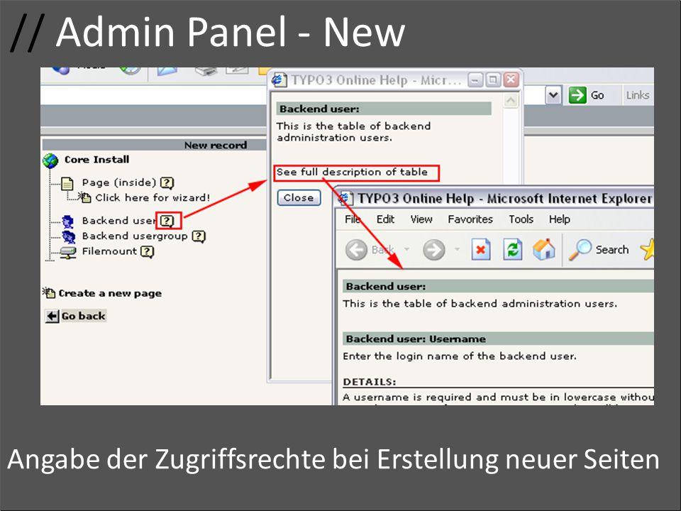 // Admin Panel - New Usergruppe Zugriffsrechte Adminrechte Gruppenname Zugriff Angabe der Zugriffsrechte bei Erstellung neuer Seiten