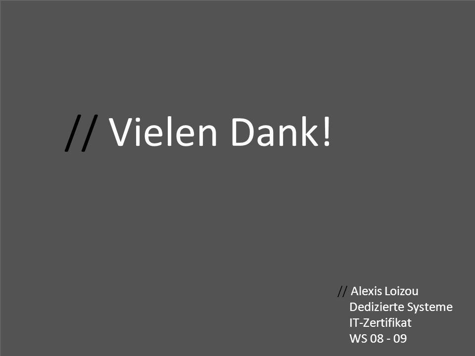 // Vielen Dank! // Alexis Loizou Dedizierte Systeme IT-Zertifikat WS 08 - 09