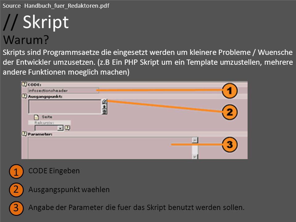 Source: Handbuch_fuer_Redaktoren.pdf // Skript Warum? Skripts sind Programmsaetze die eingesetzt werden um kleinere Probleme / Wuensche der Entwickler