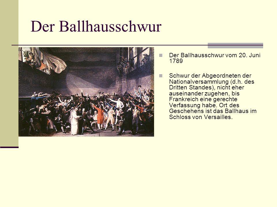 Der Ballhausschwur Der Ballhausschwur vom 20. Juni 1789 Schwur der Abgeordneten der Nationalversammlung (d.h. des Dritten Standes), nicht eher auseina